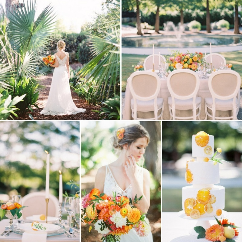 Vintage Wedding Dresses Dallas: Colorful Citrus Spring Wedding Inspiration