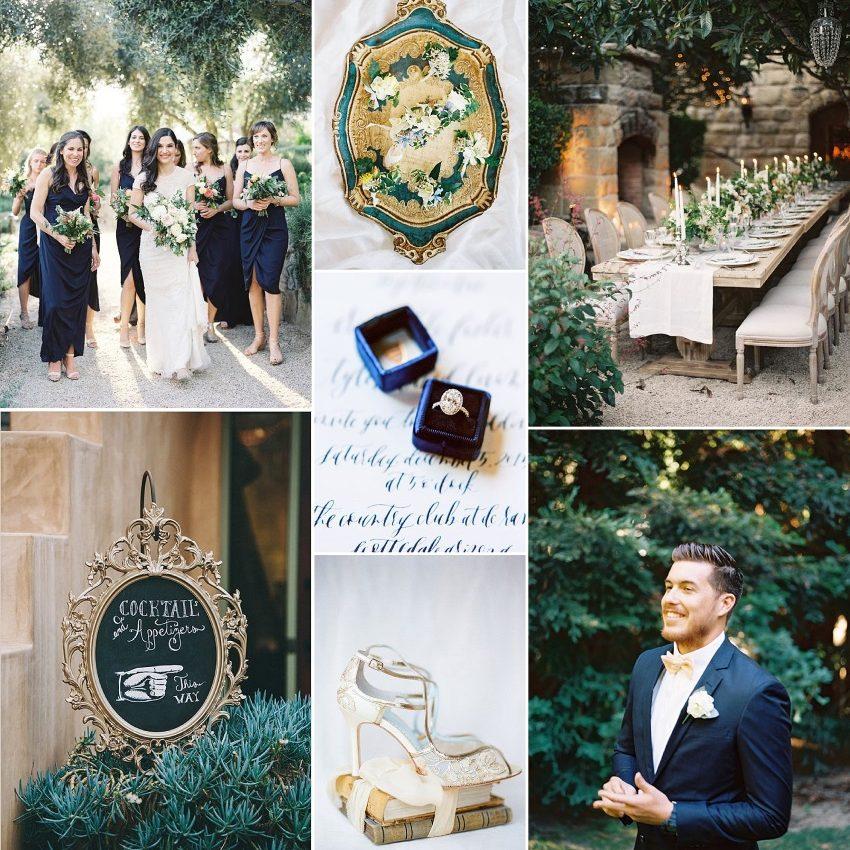 summer jewels garden wedding inspiration in midnight