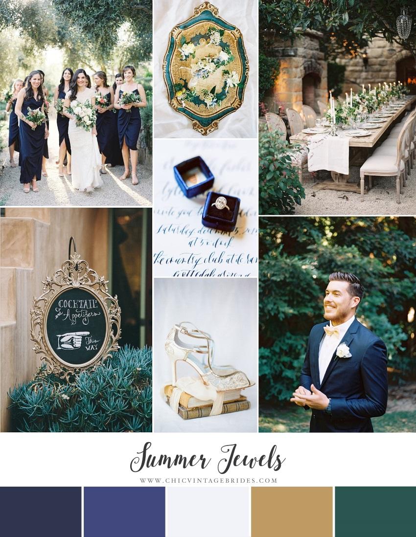 Summer Jewels - Garden Wedding Inspiration in Midnight Blue & Emerald