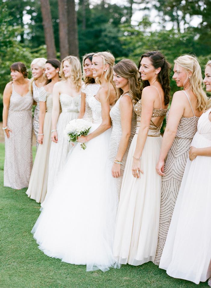 Mismatched White Bridesmaid Dresses