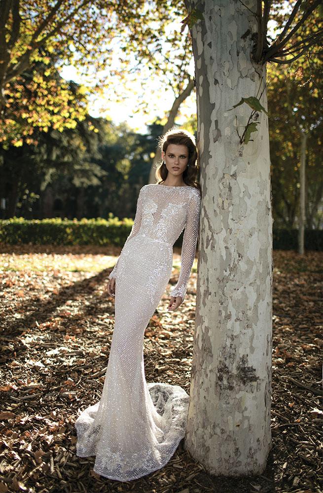 Open Back Beaded Mesh Column Wedding Dress