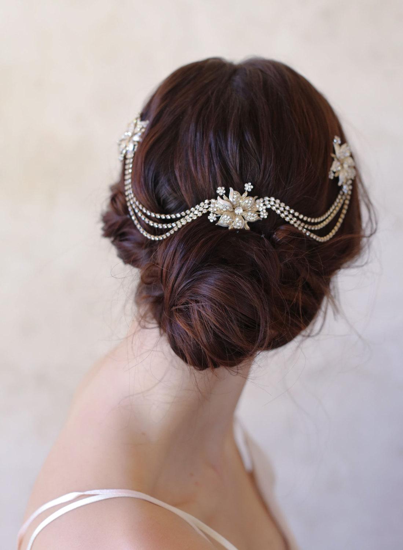 Twigs & Honey Floral Bridal Hair Chain