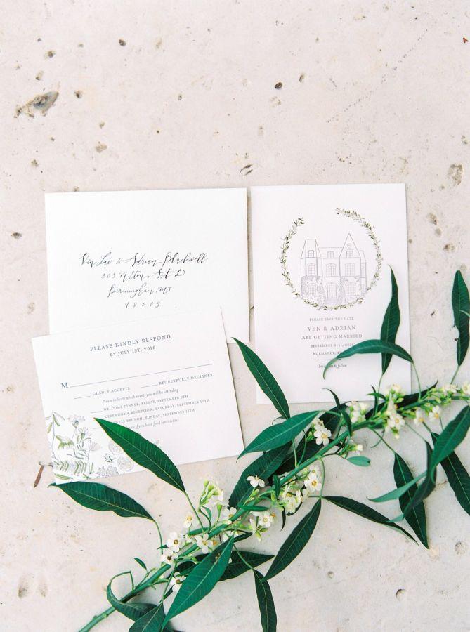 Elegant White Wedding Stationery