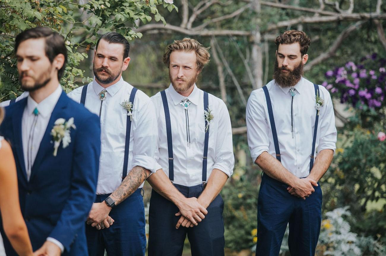 Boho Vintage Groomsmen in Suspenders