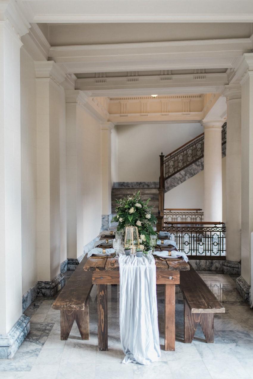 Greenery Indoor Wedding Tablescape