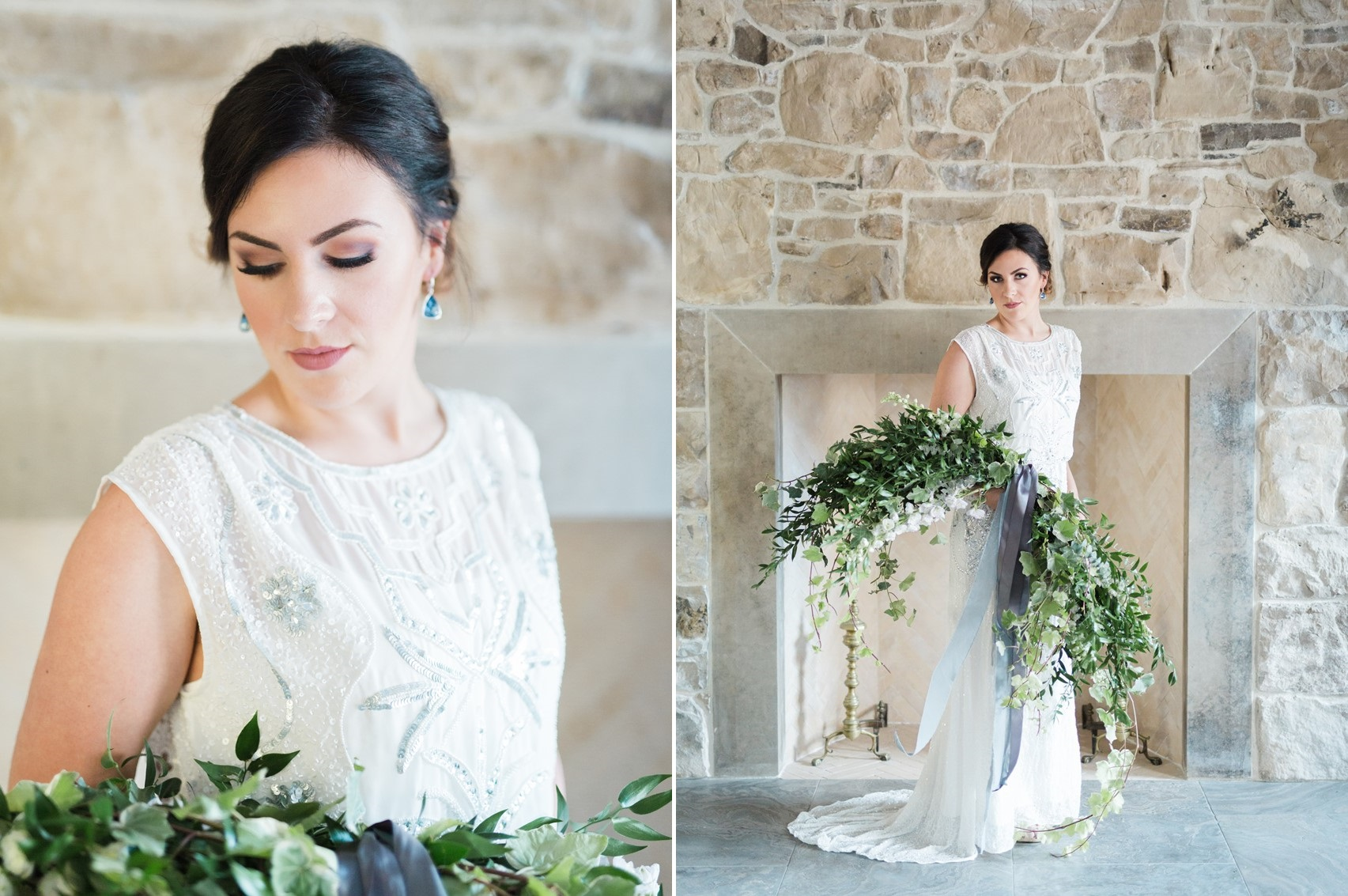 Modern Vintage Bride & Greenery Bridal Bouquet