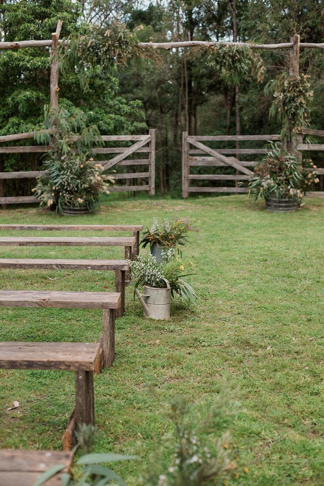 Rustic DIY Wedding Ceremony Seating