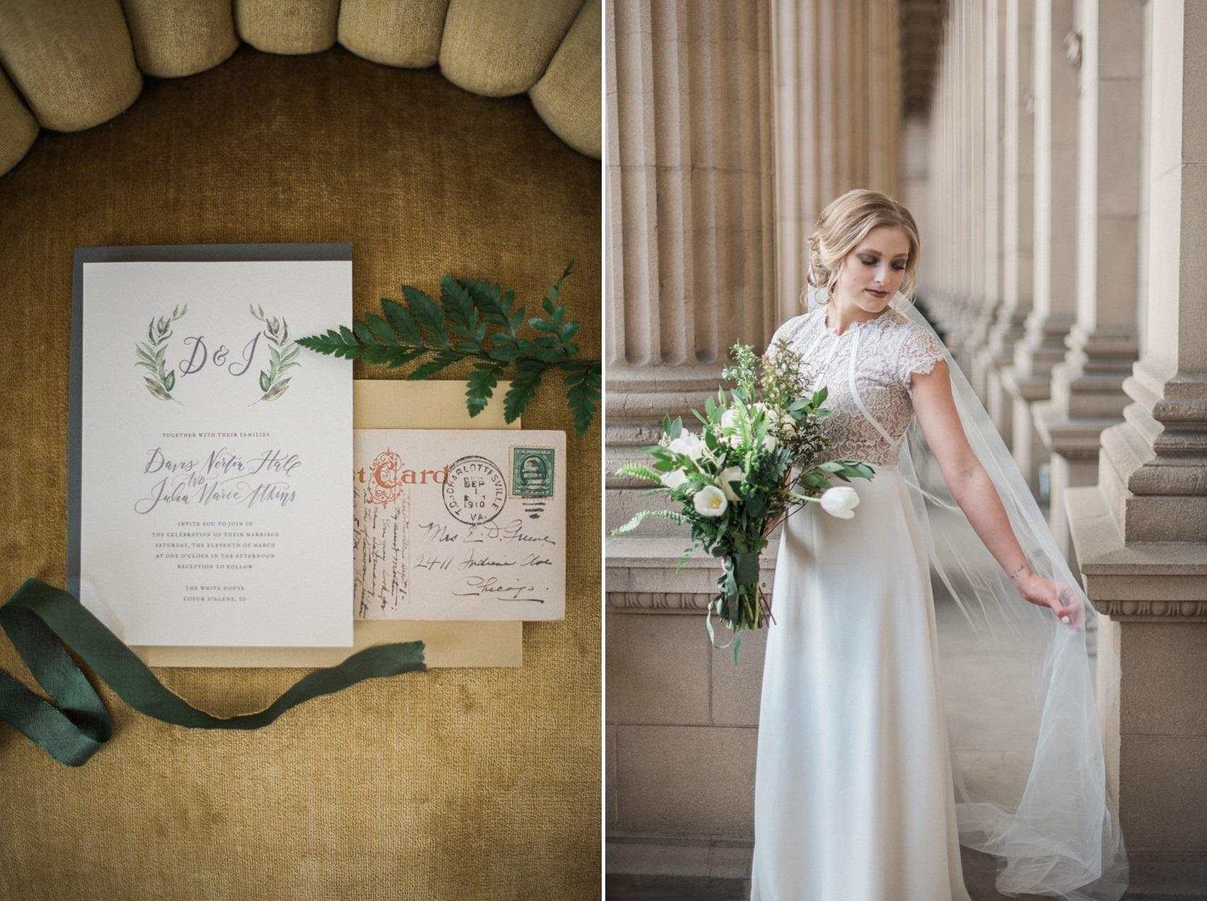 Greenery Vintage Wedding Invite & Bride
