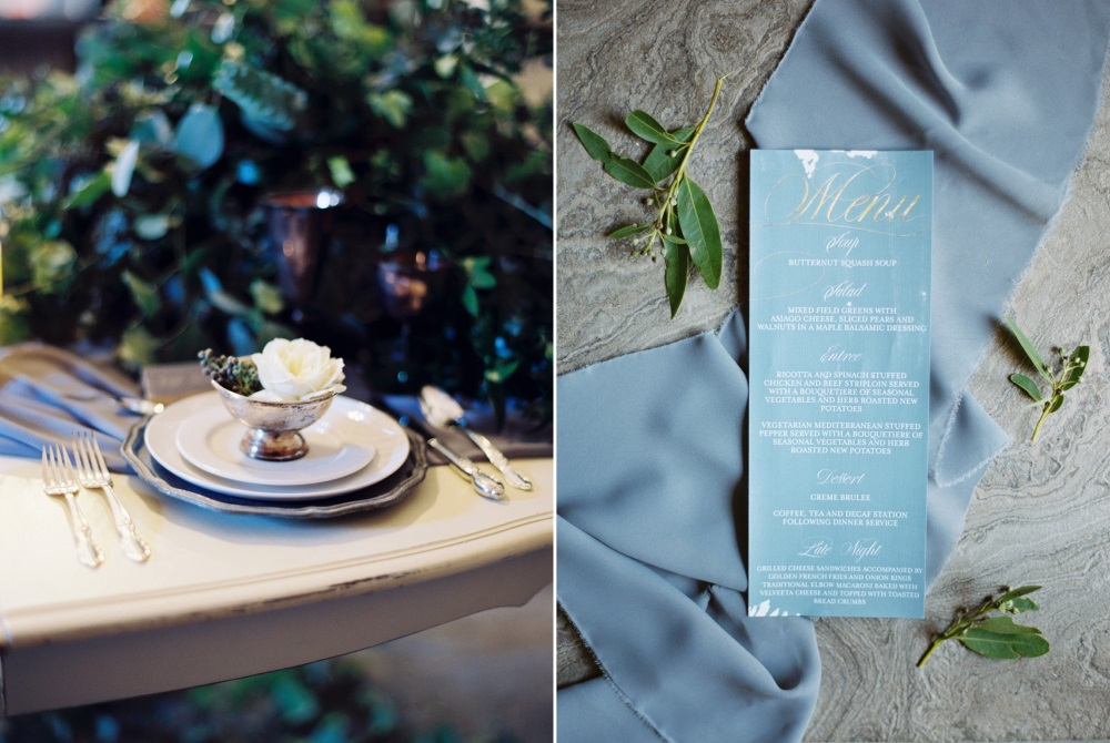 Romantic Blue & Silver Wedding Place Setting & Menu