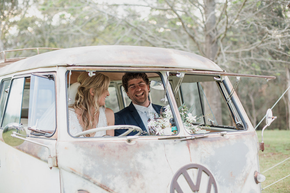 Rustic Bride & Groom in a Vintage VW Camper Van