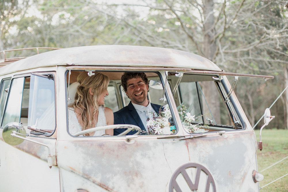 Rustic Bride & Groom in a Vintage VW Camper Van