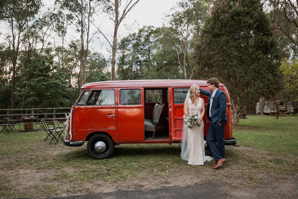 Vintage Bride & Groom with a Vintage VW Camper Van