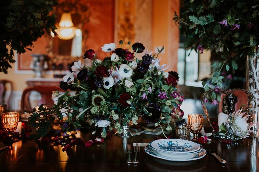 Red, Green & White Floral Wedding Centerpiece