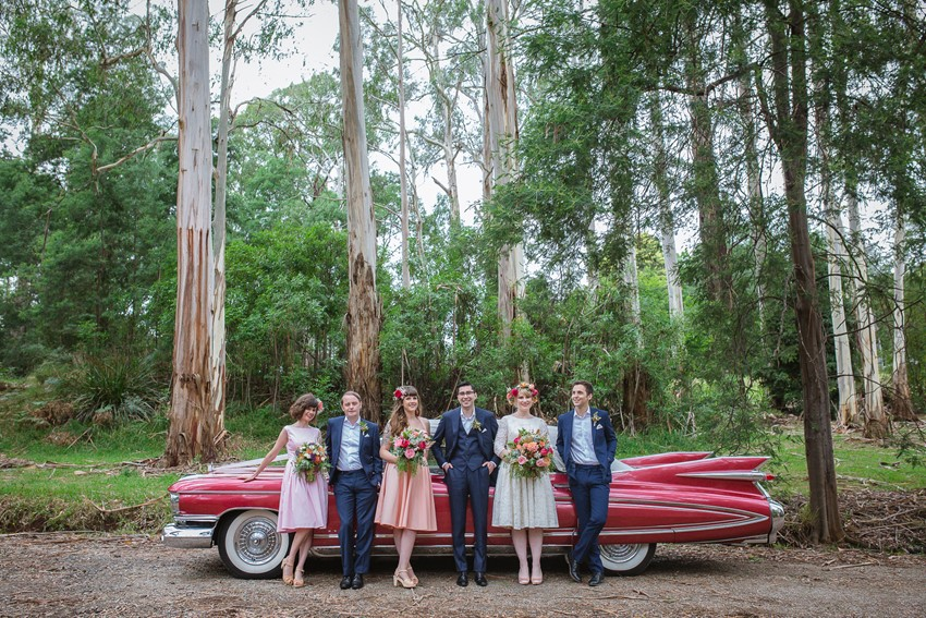 Wedding Party with Vintage Cadillac