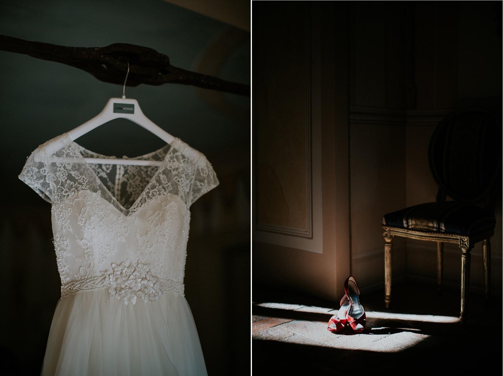 Wedding Dress & Red Bridal Shoes