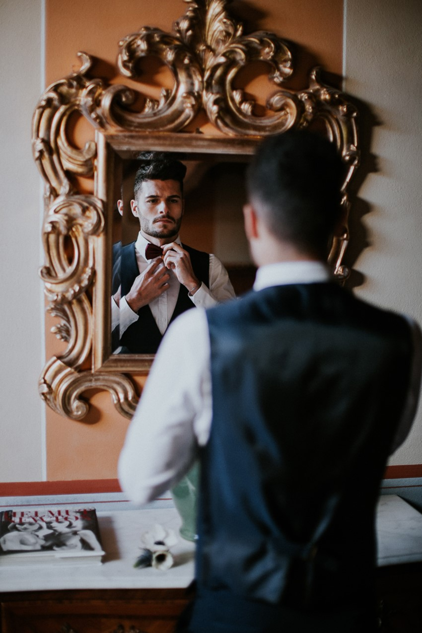 Vintage Inspired Groom Getting Ready