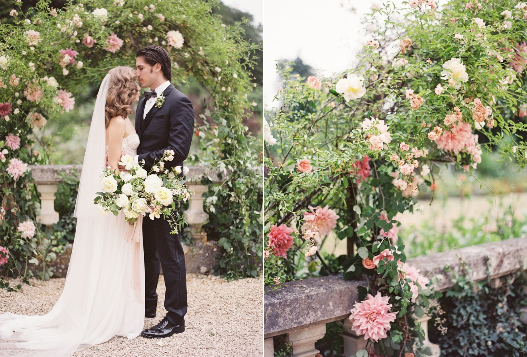 Pink Rose Floral Aisle Arch for a Romantic Outdoor Wedding Ceremony