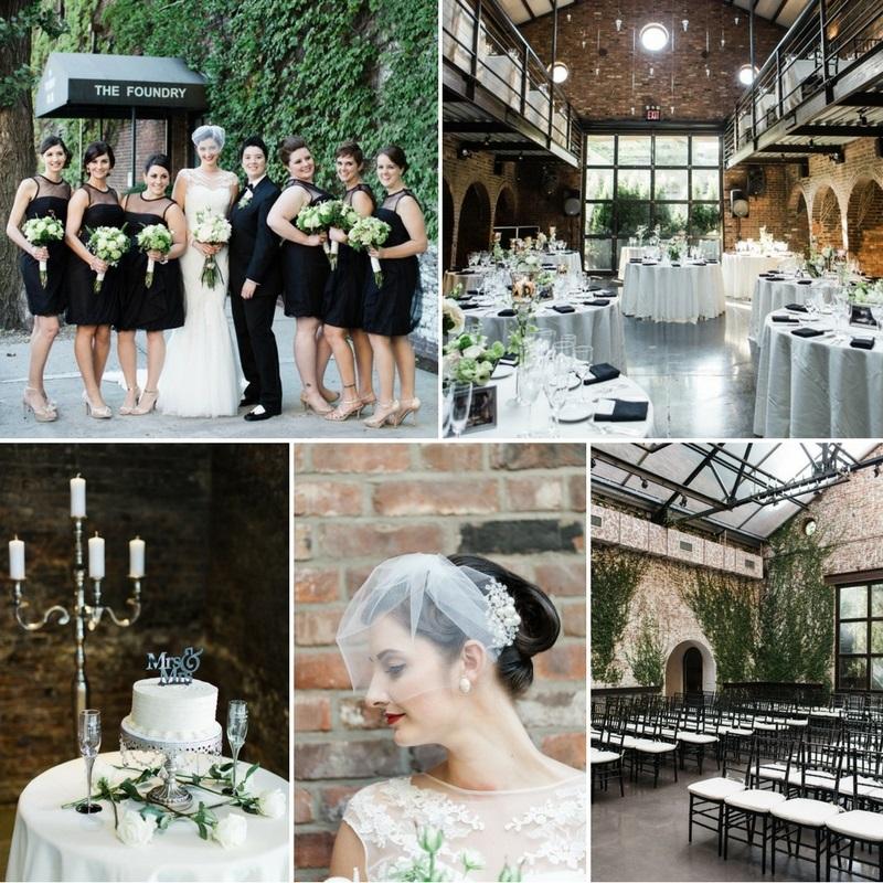 A Vintage Inspired City Wedding in a Crisp and Elegant Palette of Ivory, Black & Green