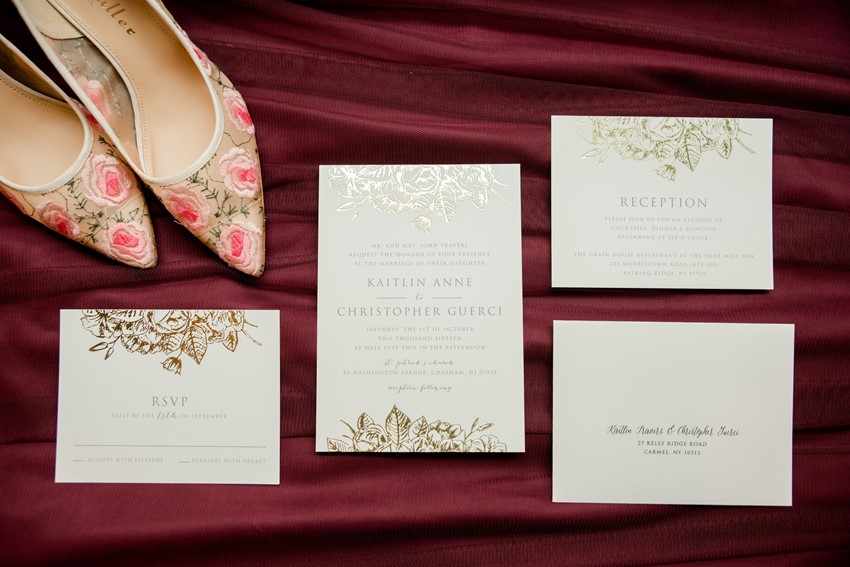 Gold Foil Floral Wedding Invitations