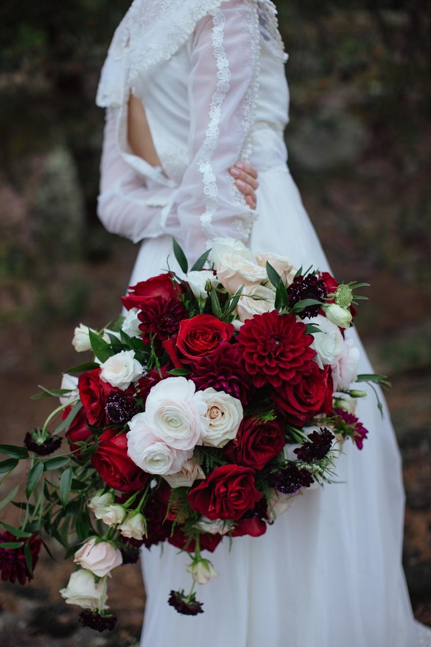 Gothic Romantic Red Bridal Bouquet