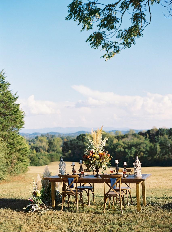 Rustic Outdoor Wedding Reception Tablescape