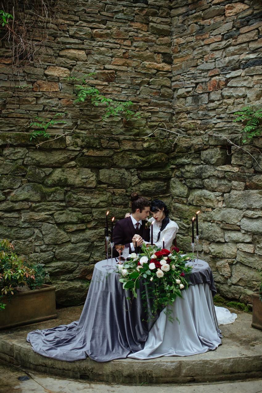 Gothic Edwardian Wedding Sweetheart Table
