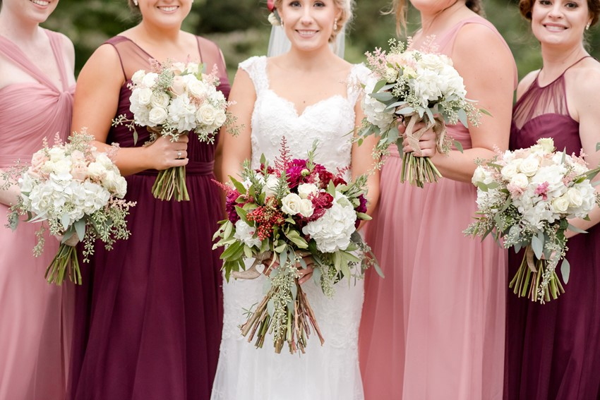 Garnet & Pink Wedding Bouquets