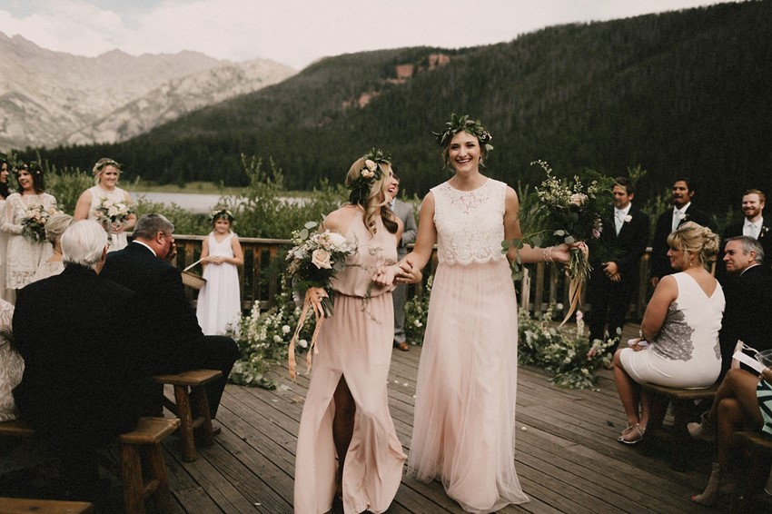 Boho Vintage Mismatched Blush Bridesmaids