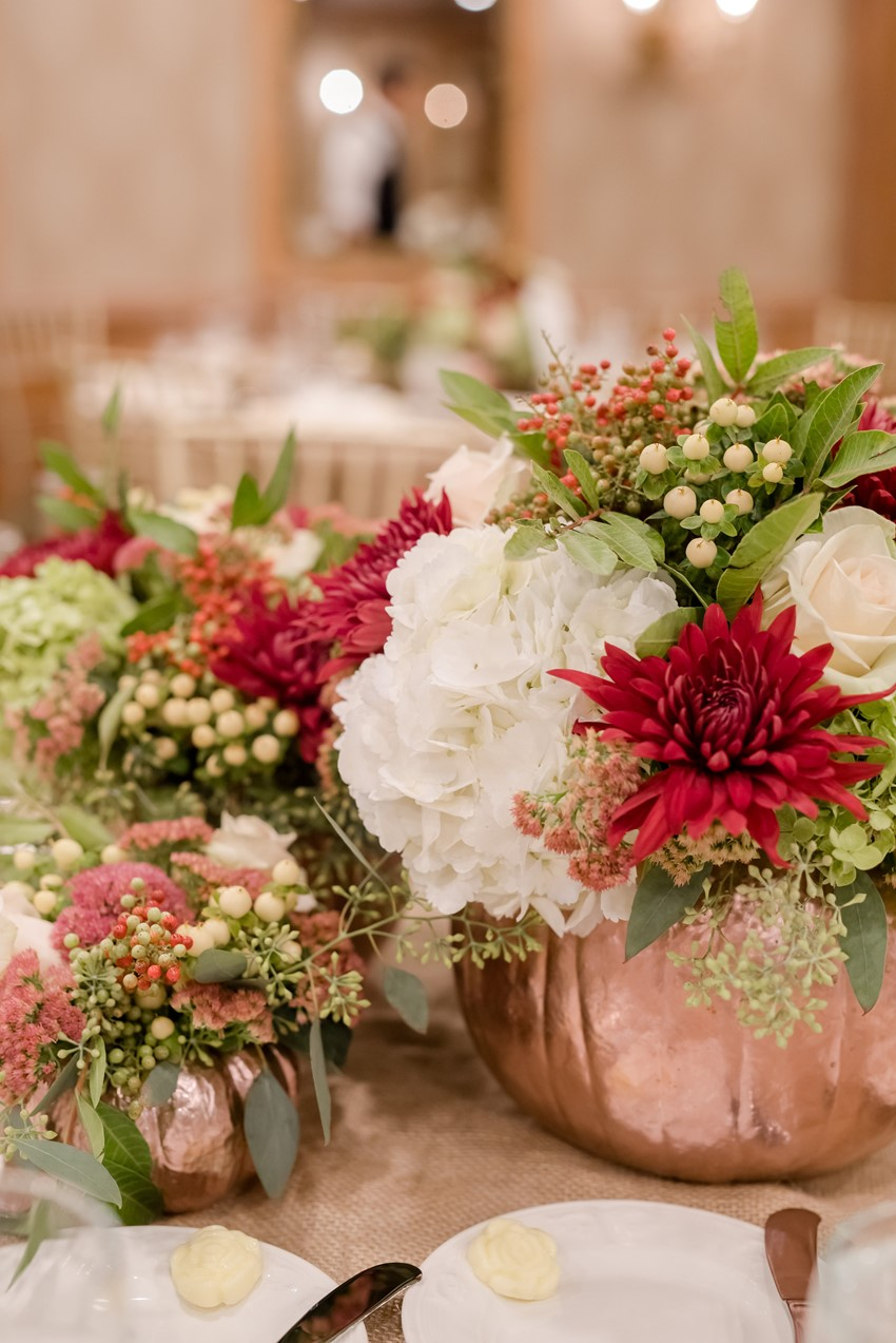 Floral Pumpkin Wedding Centerpieces