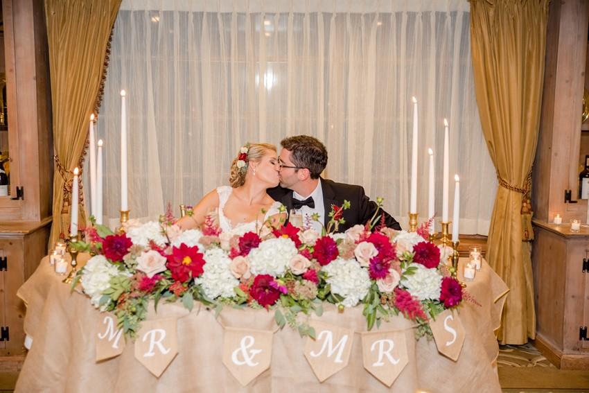 Gold & Marsala Wedding Sweetheart Table