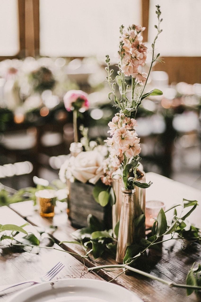 Boho Vintage Wedding Reception Centerpiece