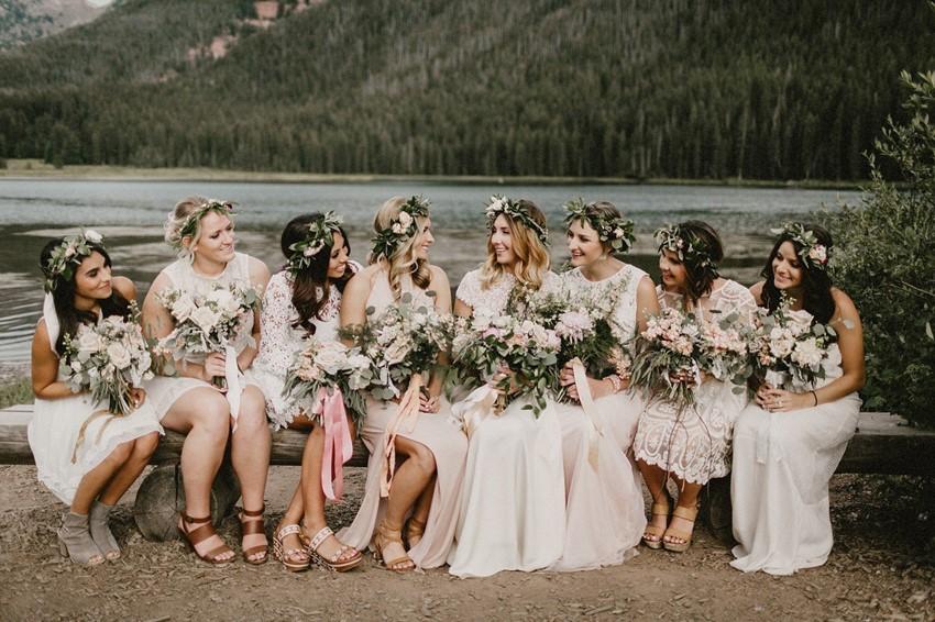 Boho Vintage Mismatched Bridesmaids