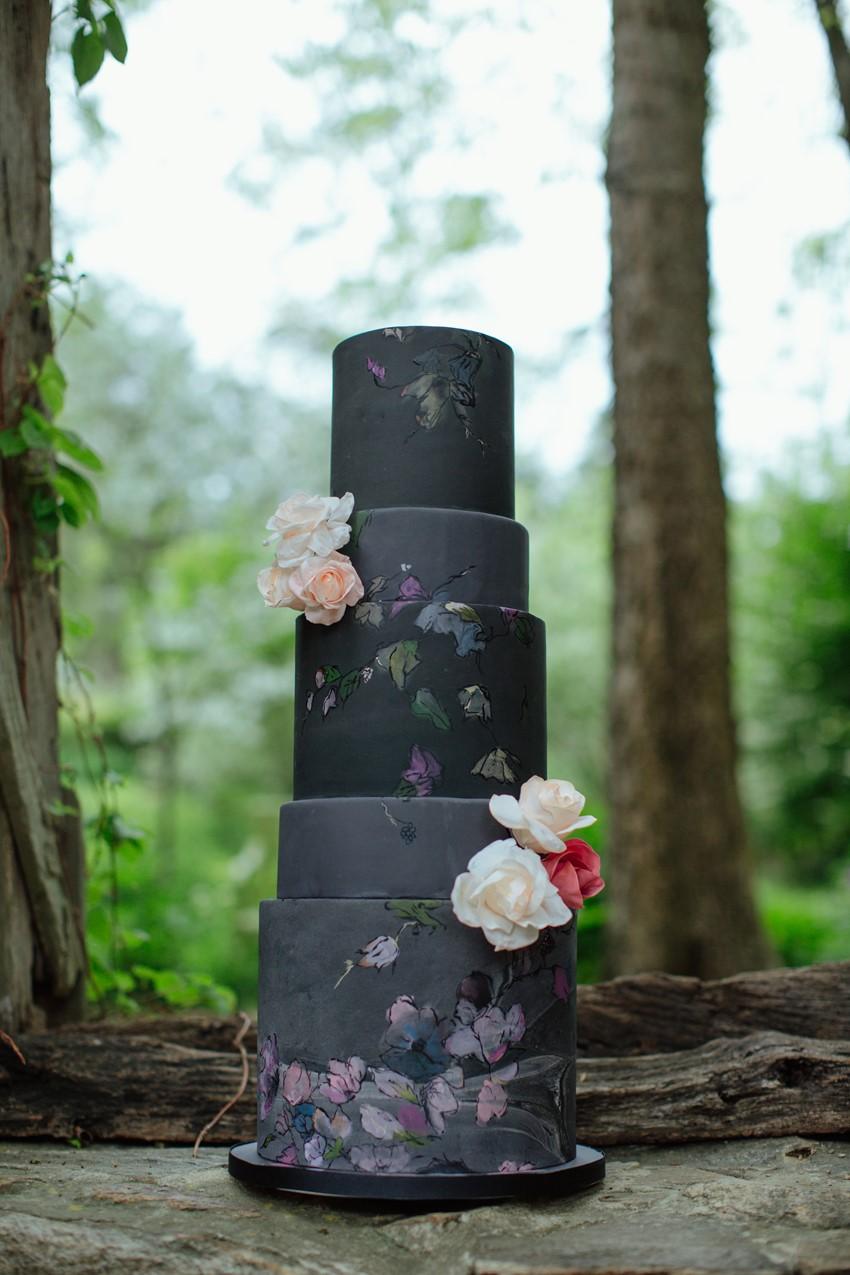 Black Painted Wedding Cake