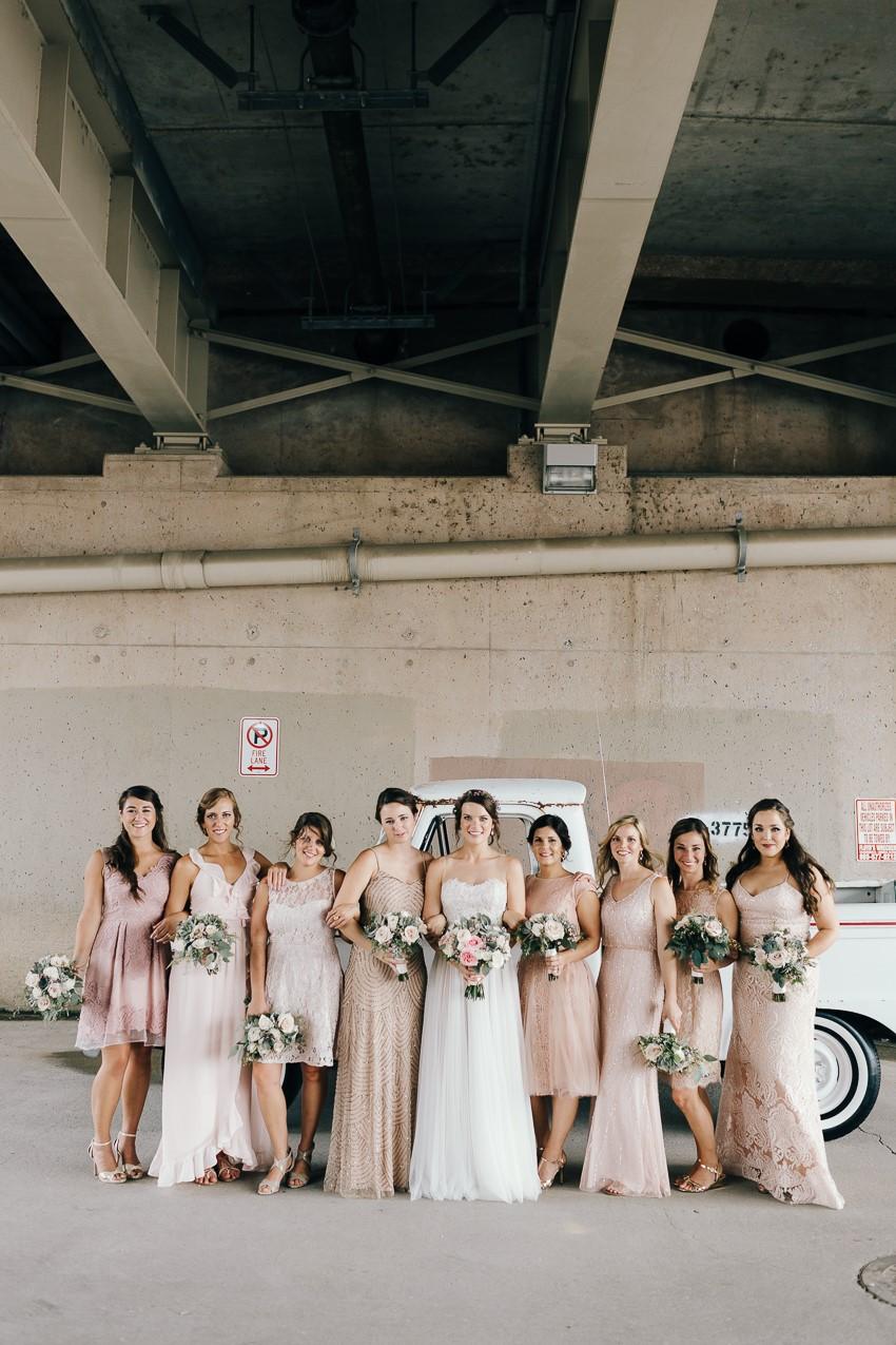 Mismatched Blush Bridesmaids Dresses