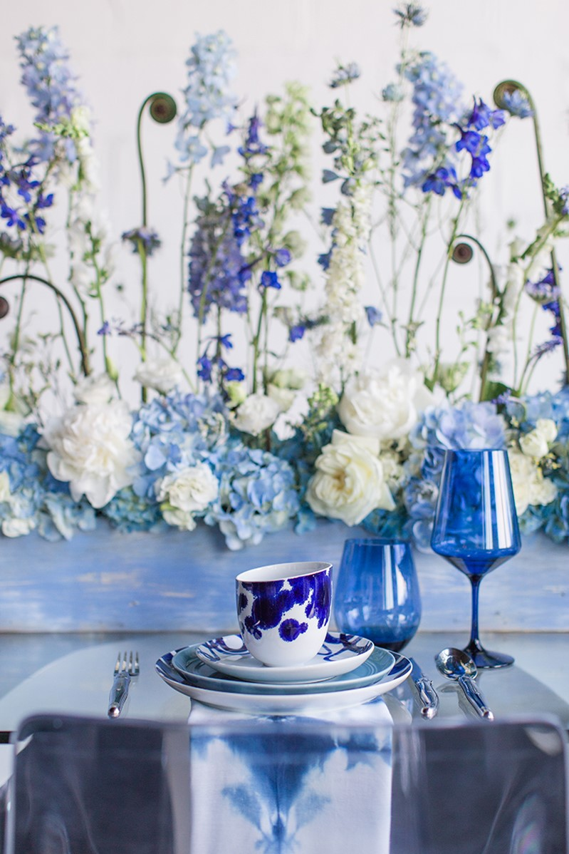 Elegant Blue Wedding Place Setting