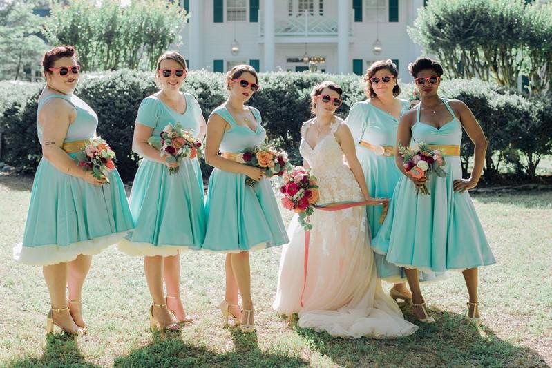 1950s Inspired Bride & Bridesmaids in Sunglasses
