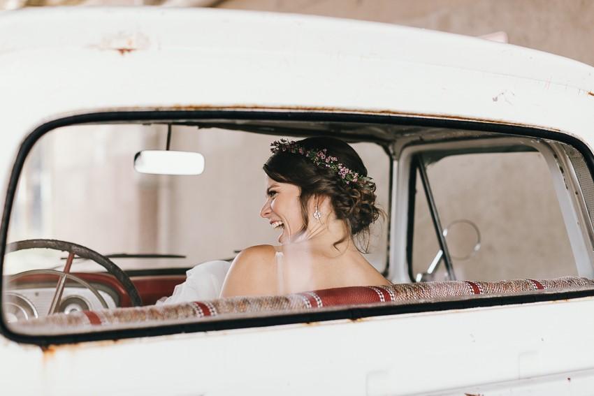 Bride in a Vintage Truck