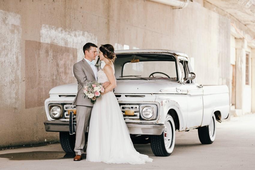 Bride & Groom with a Vintage Truck