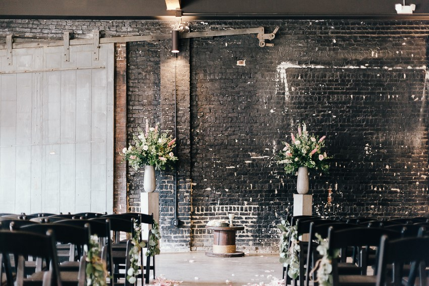 Industrial Wedding Ceremony Decor