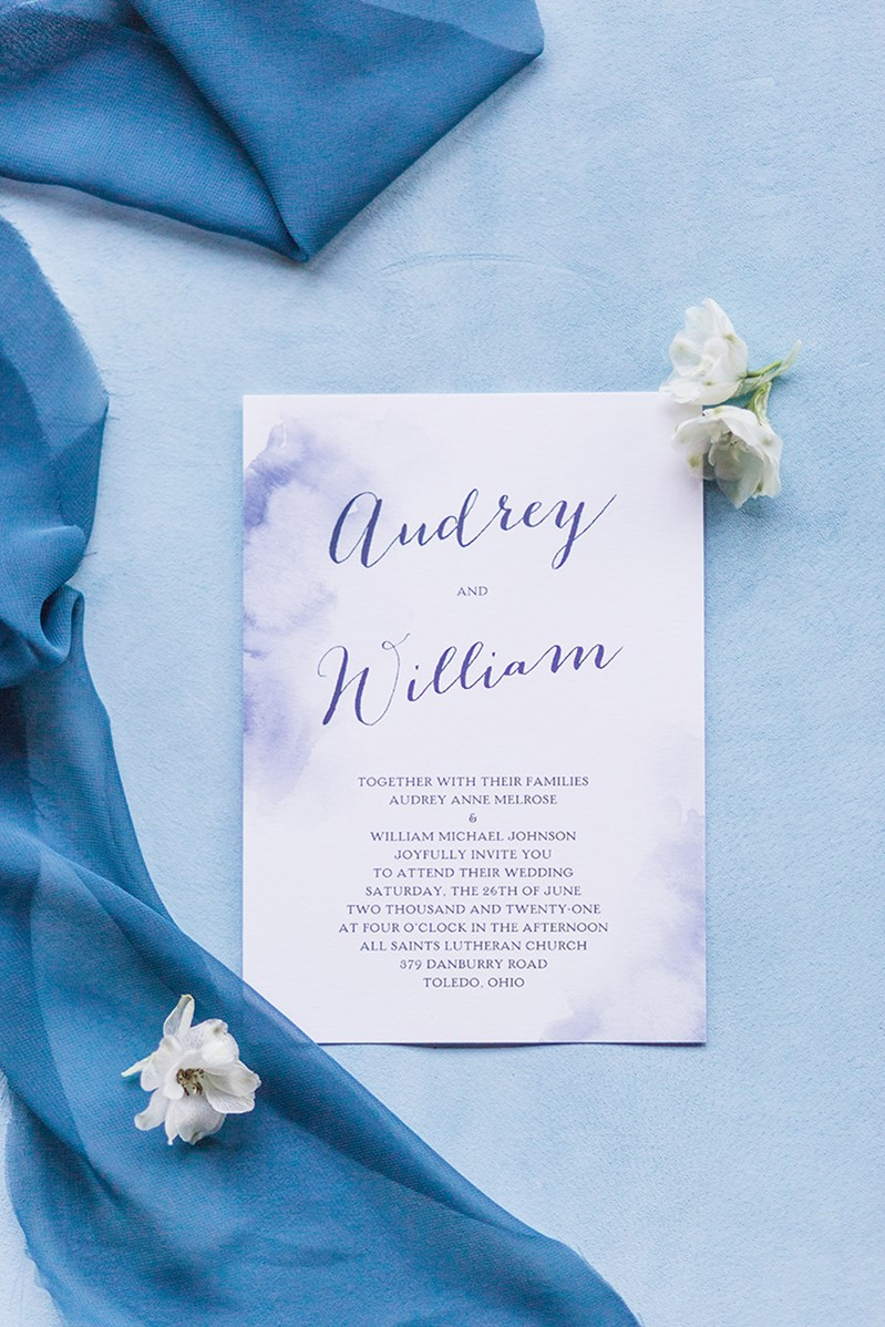 Timeless Blue Wedding Stationery from David's Bridal