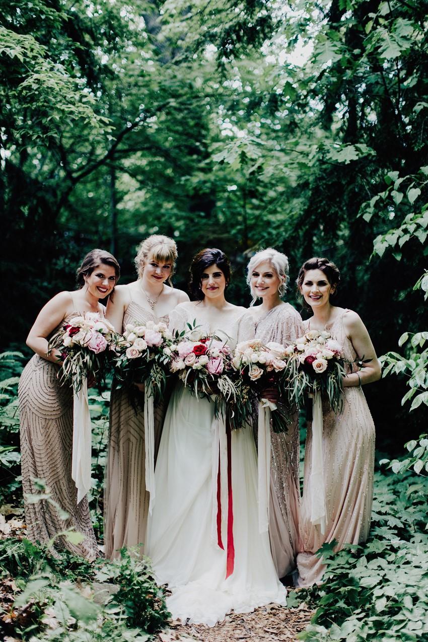 Bride & Elegant Vintage Inspired Blush Bridesmaids