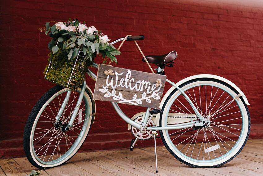 Wedding Bike with Welcome Sign