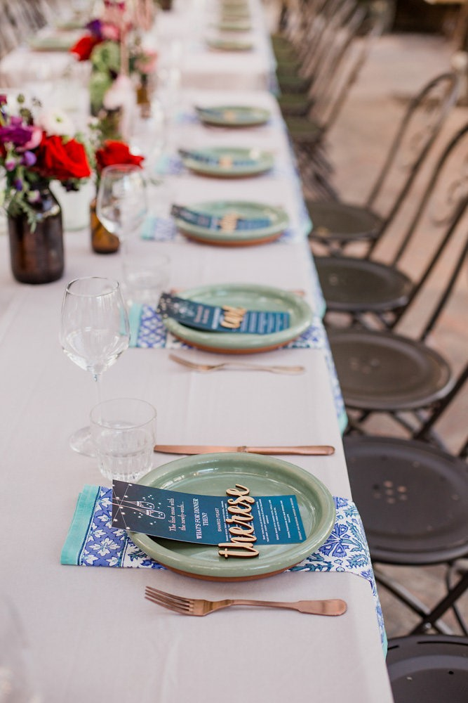 Colorful Wedding Place Settings