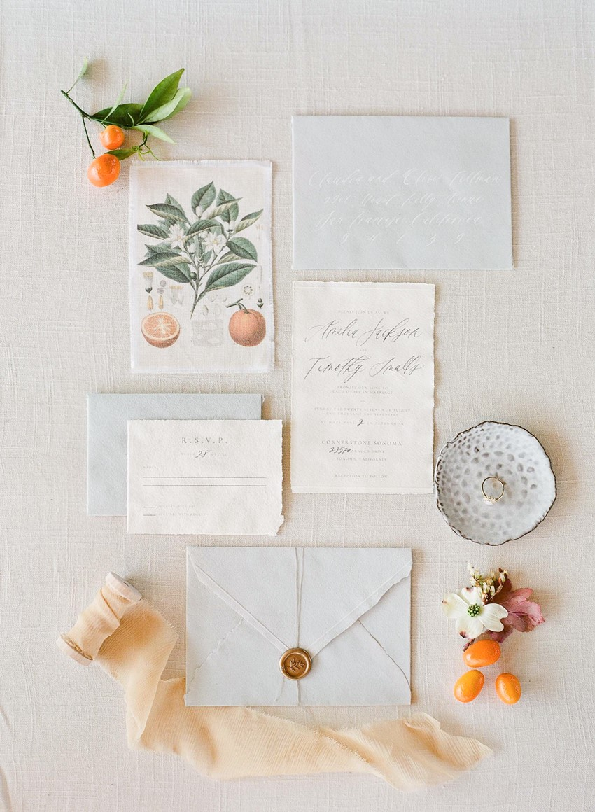 Elegant Citrus Wedding Invitiation Suite