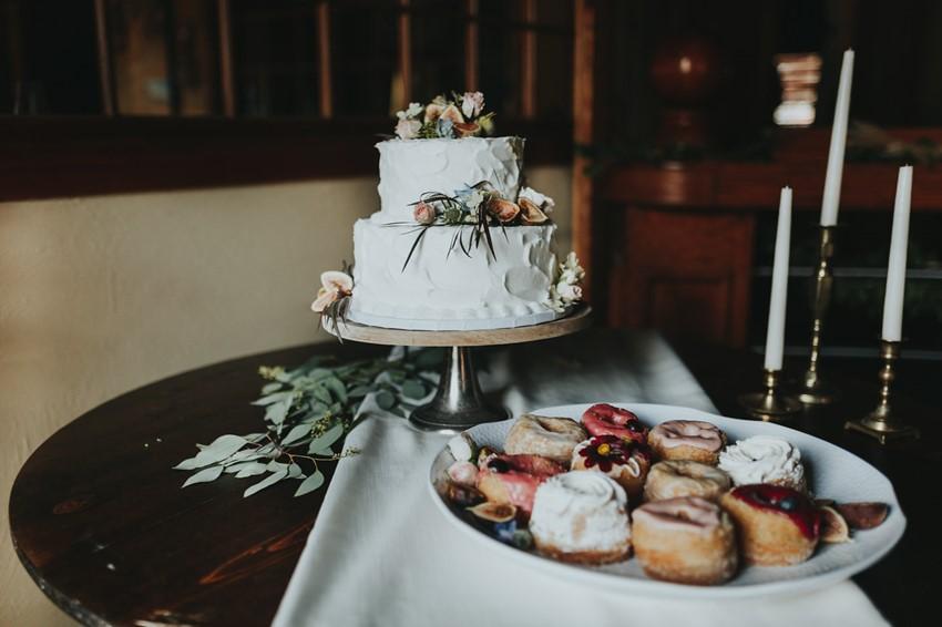 Romantic White Buttercream Wedding Cake with Fresh Flowers