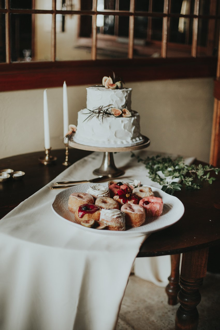 Romantic White Buttercream Icing Wedding Cake with Fresh Flowers