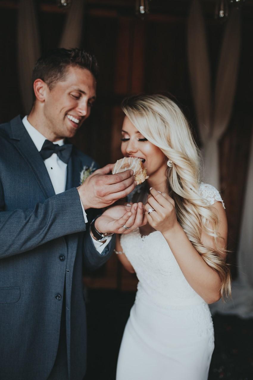 Bride & Groom Eating Donuts