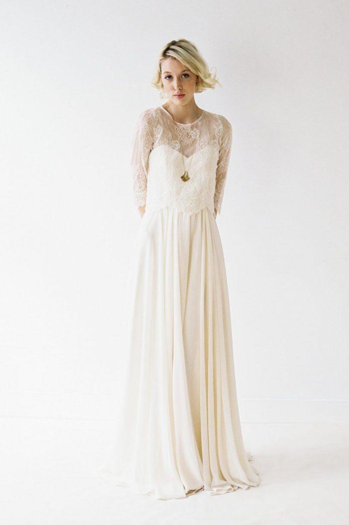 9191622ccedc Blush Chiffon Wedding Dress With A Lace Shirt Chic Vintage Brides