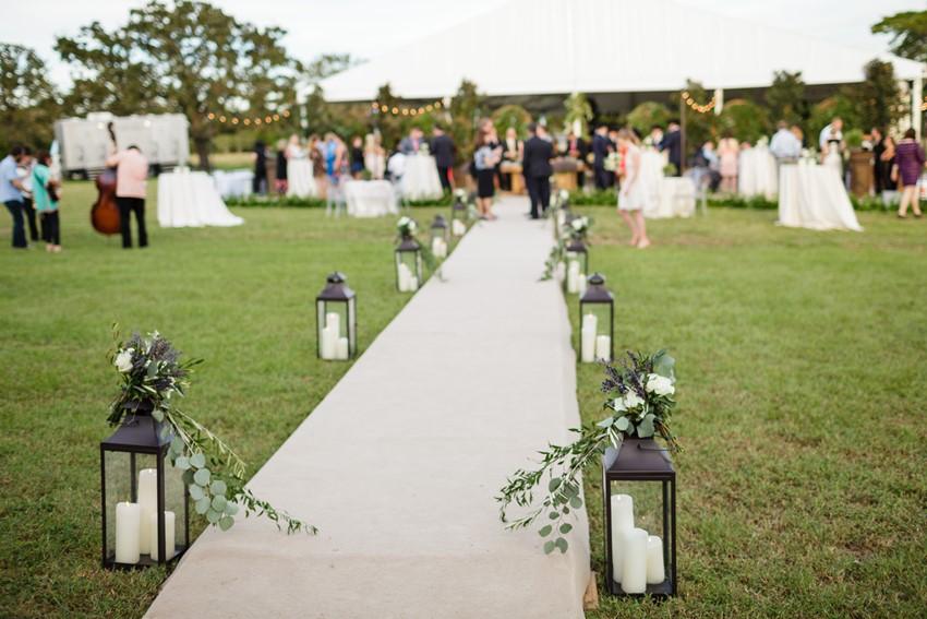 Lamp Lit Wedding Path
