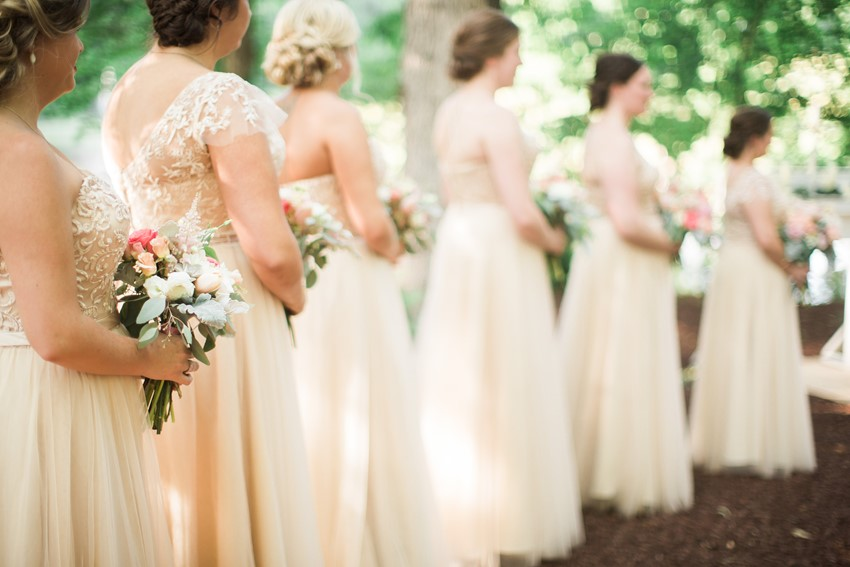 Romantic Bridesmaids in Champagne Full Length Dresses
